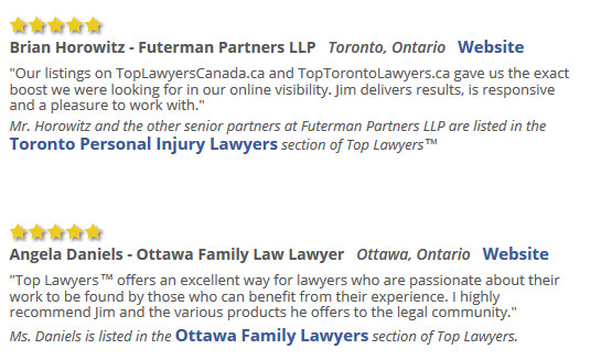 Testimonials from happy lawyer clients of Too Lawyers